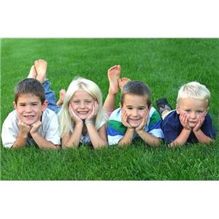 Kids Posing on Grass